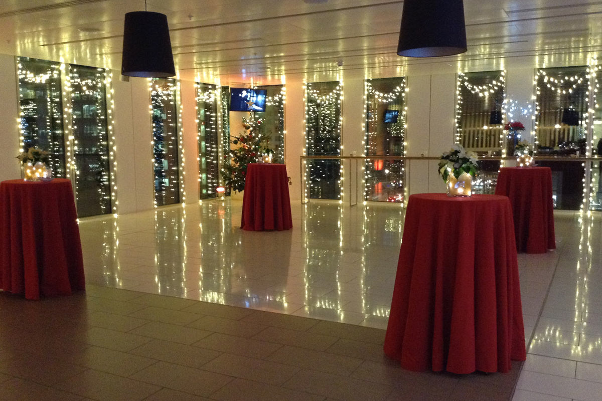 After work event set-up at Christmas