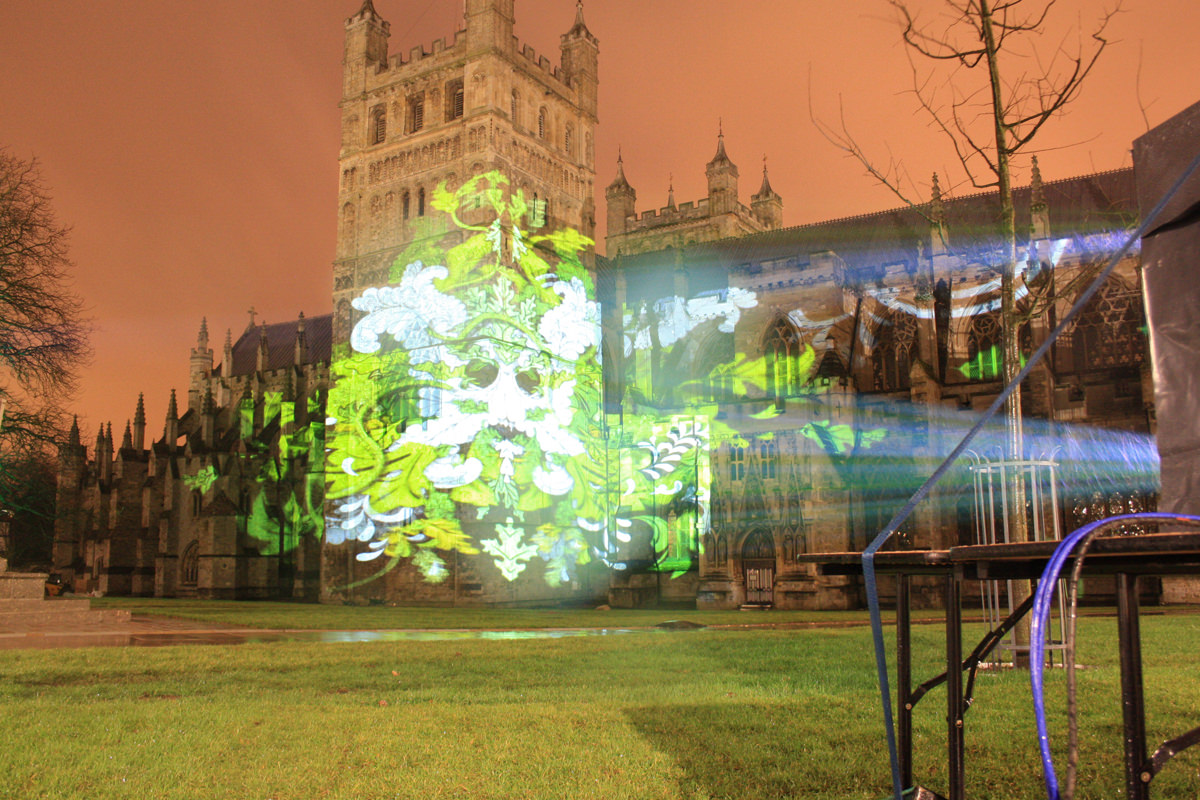 video mapping Exeter Cathedral